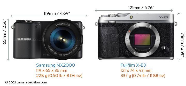 Samsung NX2000 vs Fujifilm X-E3 Camera Size Comparison - Front View
