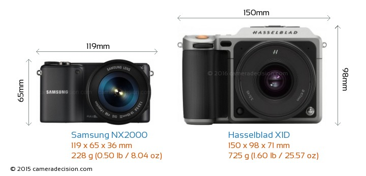 Samsung NX2000 vs Hasselblad X1D Camera Size Comparison - Front View