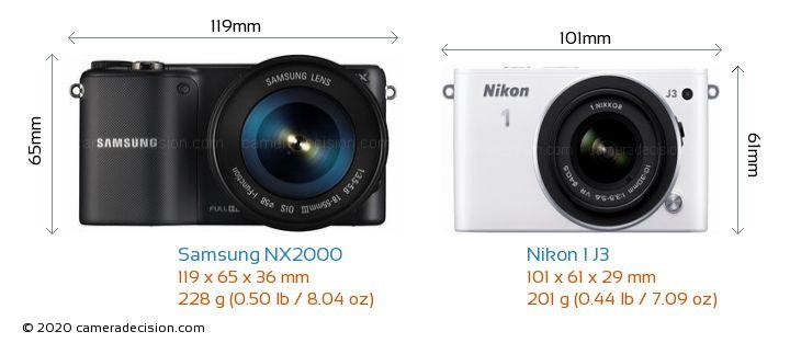 Samsung NX2000 vs Nikon 1 J3 Camera Size Comparison - Front View