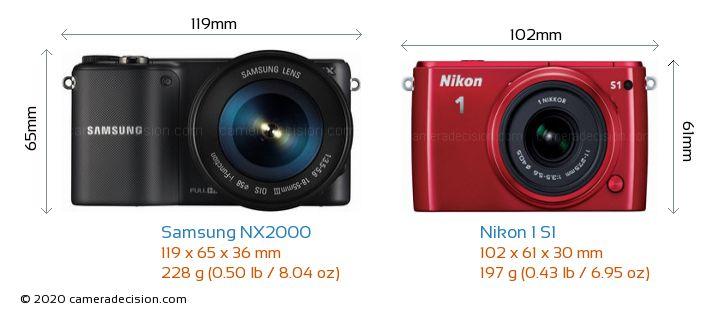 Samsung NX2000 vs Nikon 1 S1 Camera Size Comparison - Front View