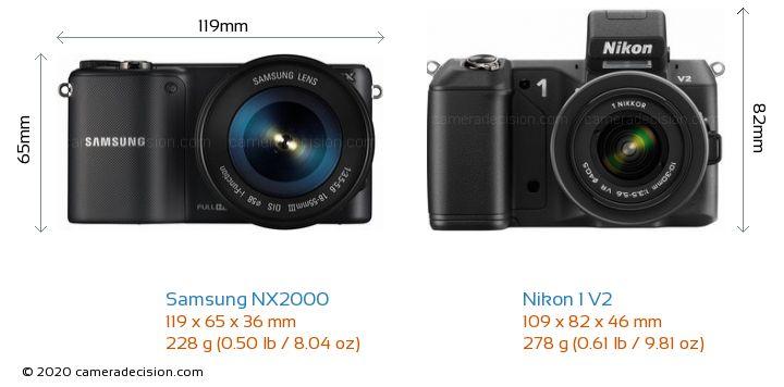 Samsung NX2000 vs Nikon 1 V2 Camera Size Comparison - Front View