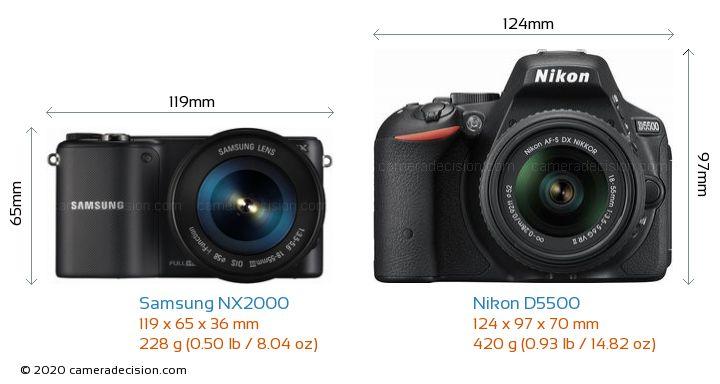 Samsung NX2000 vs Nikon D5500 Camera Size Comparison - Front View