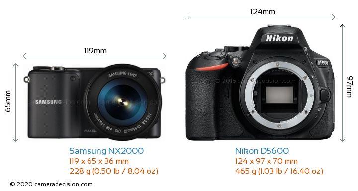 Samsung NX2000 vs Nikon D5600 Camera Size Comparison - Front View