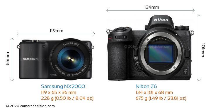 Samsung NX2000 vs Nikon Z6 Camera Size Comparison - Front View