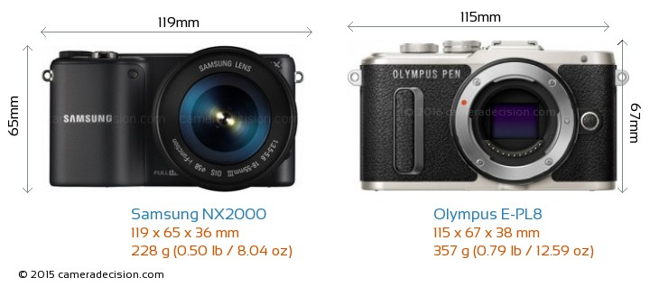 Samsung NX2000 vs Olympus E-PL8 Camera Size Comparison - Front View