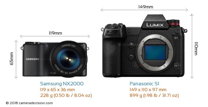 Samsung NX2000 vs Panasonic S1 Camera Size Comparison - Front View