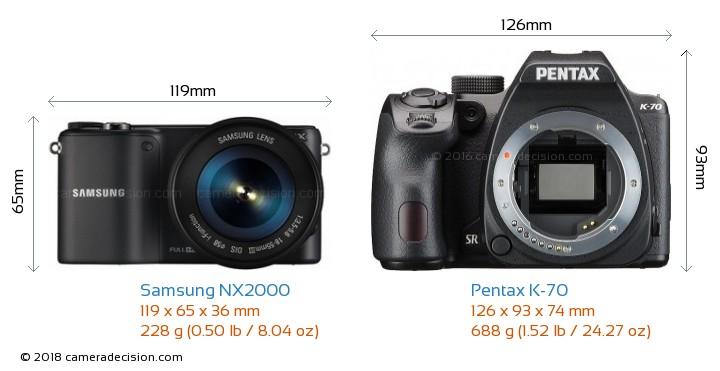 Samsung NX2000 vs Pentax K-70 Camera Size Comparison - Front View