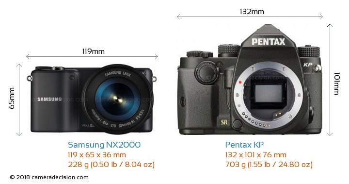 Samsung NX2000 vs Pentax KP Camera Size Comparison - Front View