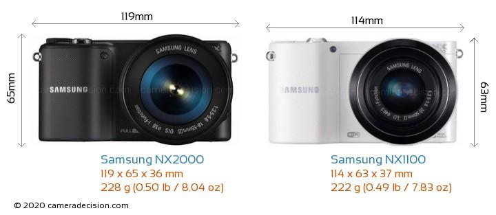 Samsung NX2000 vs Samsung NX1100 Camera Size Comparison - Front View