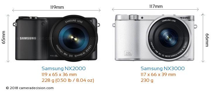 Samsung NX2000 vs Samsung NX3000 Camera Size Comparison - Front View