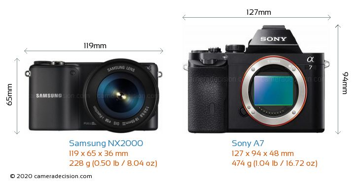Samsung NX2000 vs Sony A7 Camera Size Comparison - Front View