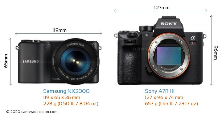 Samsung NX2000 vs Sony A7R III Camera Size Comparison - Front View