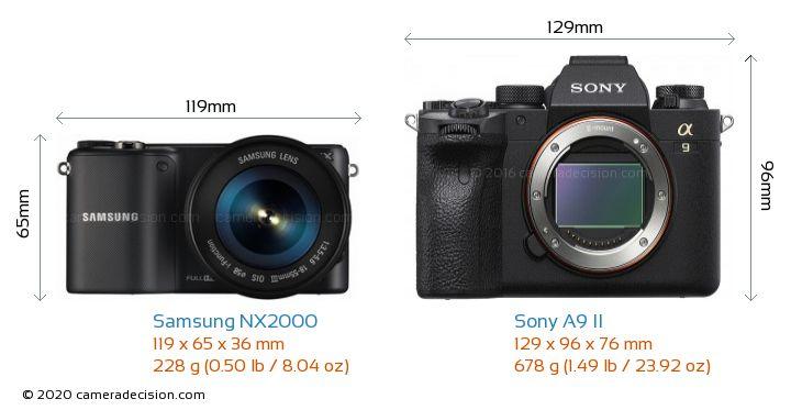 Samsung NX2000 vs Sony A9 II Camera Size Comparison - Front View