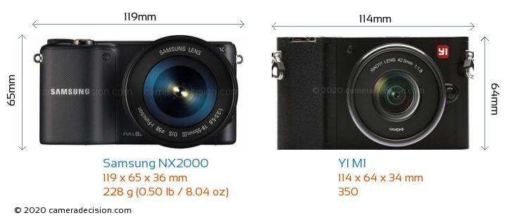 Samsung NX2000 vs YI M1 Camera Size Comparison - Front View