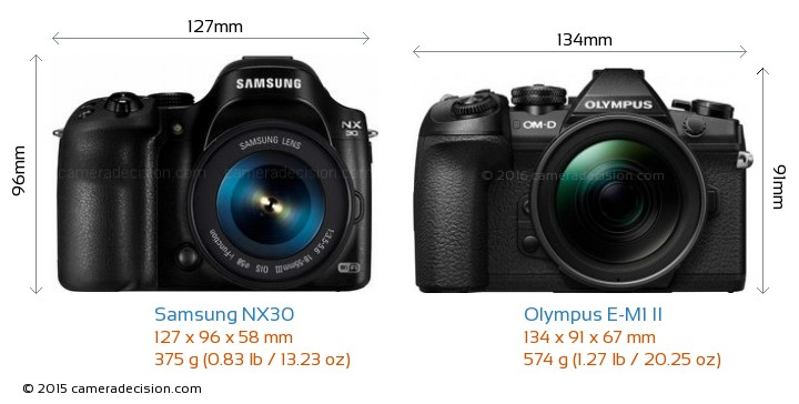 Samsung NX30 vs Olympus E-M1 II Camera Size Comparison - Front View