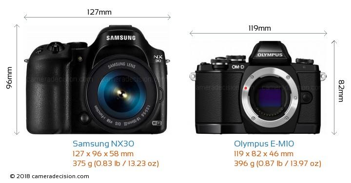 Samsung NX30 vs Olympus E-M10 Camera Size Comparison - Front View