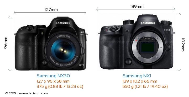 Samsung NX30 vs Samsung NX1 Camera Size Comparison - Front View