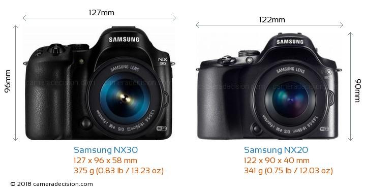 Samsung NX30 vs Samsung NX20 Camera Size Comparison - Front View