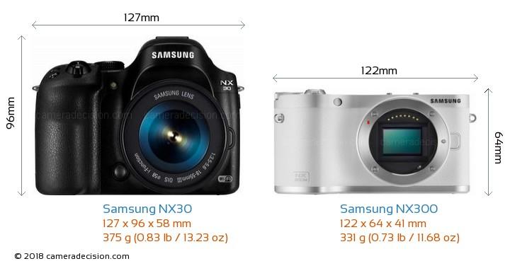 Samsung NX30 vs Samsung NX300 Camera Size Comparison - Front View
