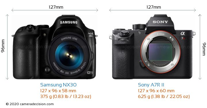 Samsung NX30 vs Sony A7R II Camera Size Comparison - Front View