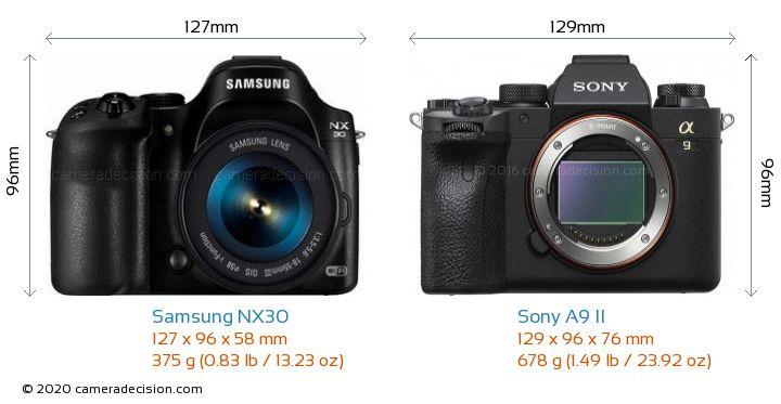 Samsung NX30 vs Sony A9 II Camera Size Comparison - Front View