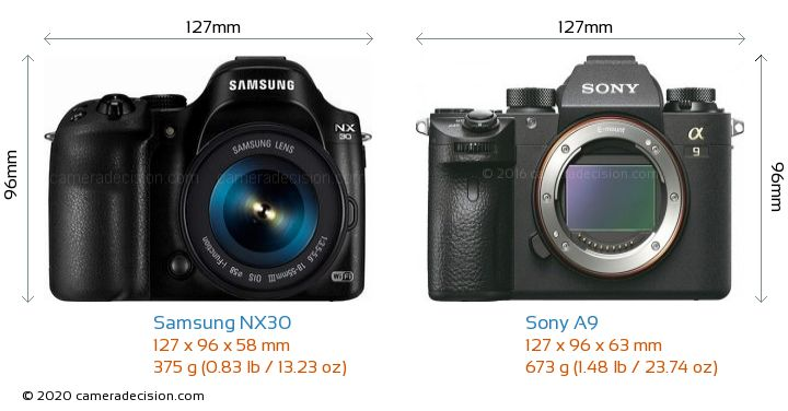 Samsung NX30 vs Sony A9 Camera Size Comparison - Front View