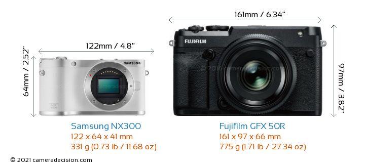 Samsung NX300 vs Fujifilm GFX 50R Camera Size Comparison - Front View