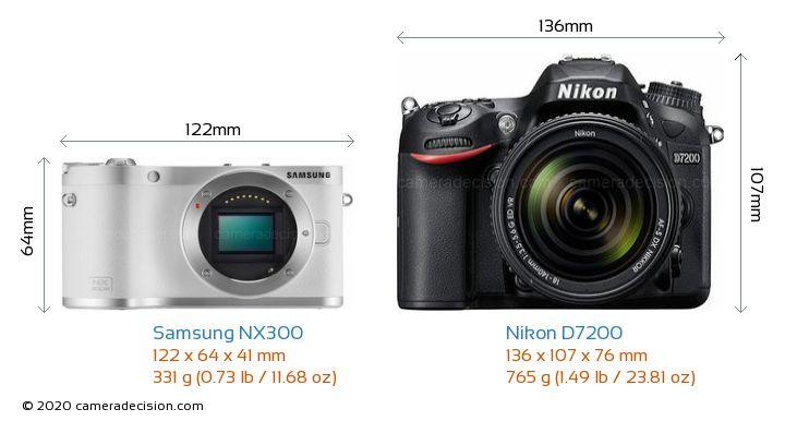Samsung NX300 vs Nikon D7200 Camera Size Comparison - Front View