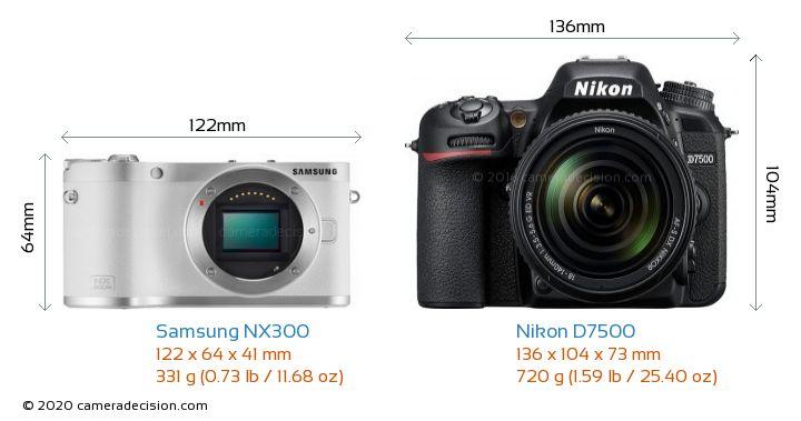Samsung NX300 vs Nikon D7500 Camera Size Comparison - Front View