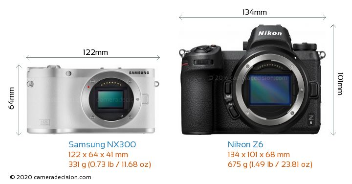 Samsung NX300 vs Nikon Z6 Camera Size Comparison - Front View