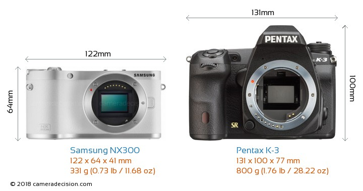 Samsung NX300 vs Pentax K-3 Camera Size Comparison - Front View