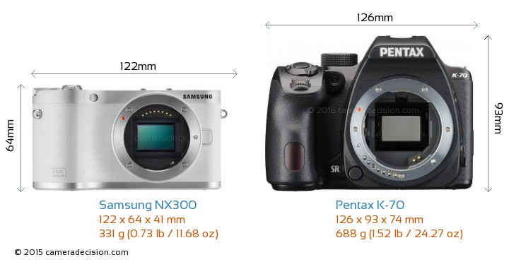 Samsung NX300 vs Pentax K-70 Camera Size Comparison - Front View