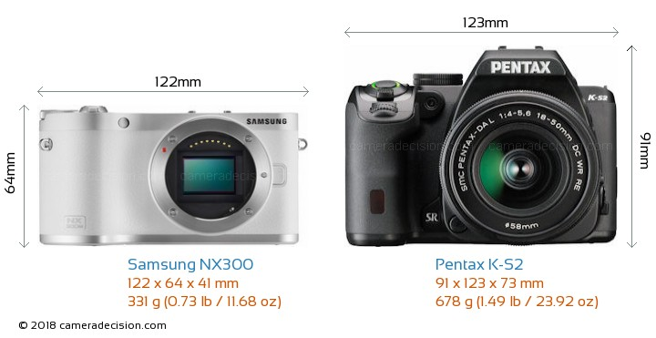 Samsung NX300 vs Pentax K-S2 Camera Size Comparison - Front View