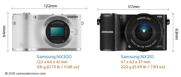 Samsung NX300 vs Samsung NX210 Camera Size Comparison - Front View