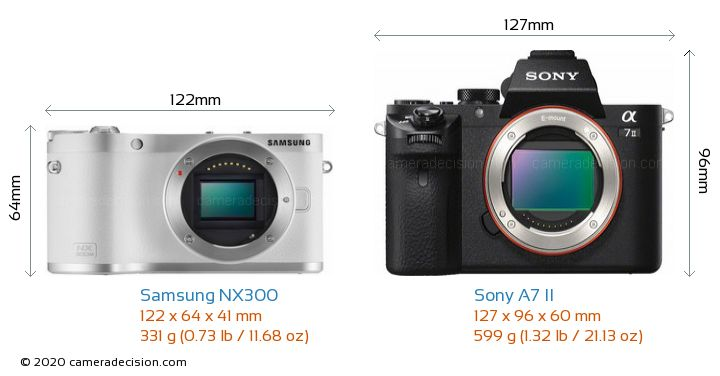 Samsung NX300 vs Sony A7 II Camera Size Comparison - Front View