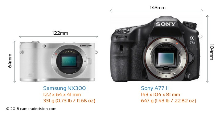 Samsung NX300 vs Sony A77 II Camera Size Comparison - Front View
