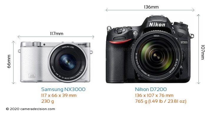 Samsung NX3000 vs Nikon D7200 Camera Size Comparison - Front View