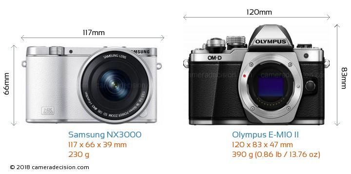 Samsung NX3000 vs Olympus E-M10 II Camera Size Comparison - Front View