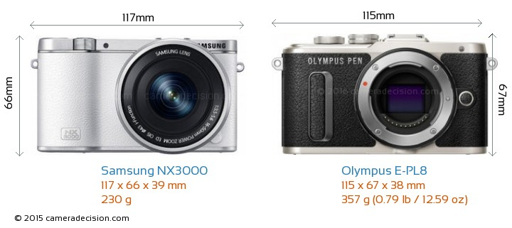 Samsung NX3000 vs Olympus E-PL8 Camera Size Comparison - Front View