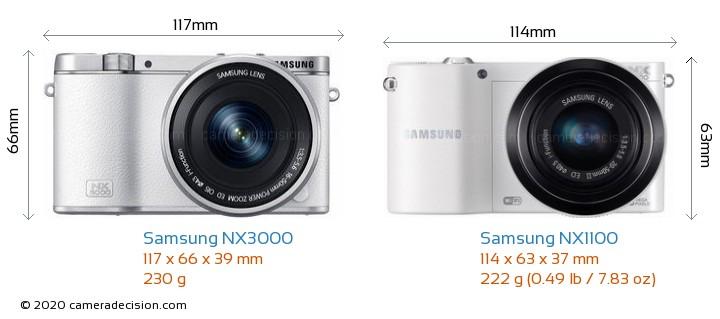 Samsung NX3000 vs Samsung NX1100 Camera Size Comparison - Front View