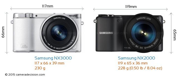 Samsung NX3000 vs Samsung NX2000 Camera Size Comparison - Front View