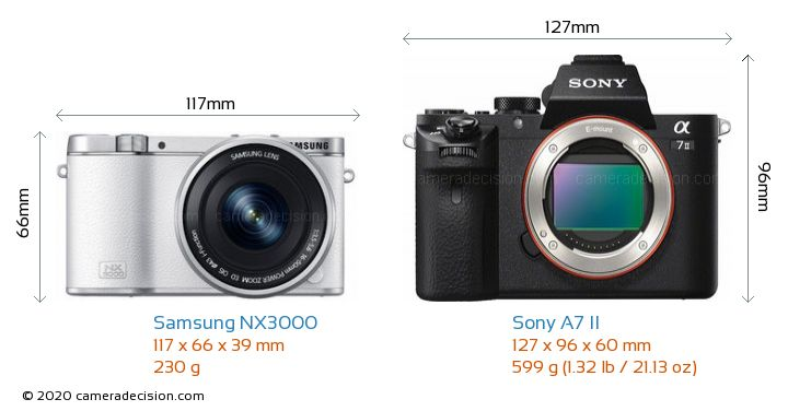 Samsung NX3000 vs Sony A7 II Camera Size Comparison - Front View