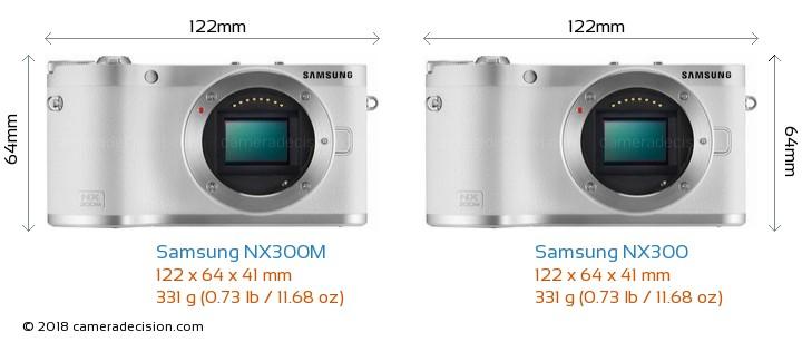 Samsung NX300M vs Samsung NX300 Camera Size Comparison - Front View