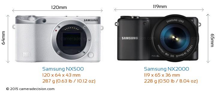 Samsung NX500 vs Samsung NX2000 Camera Size Comparison - Front View