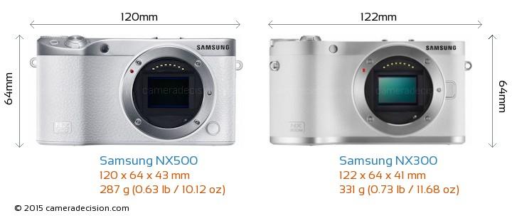 Samsung NX500 vs Samsung NX300 Camera Size Comparison - Front View