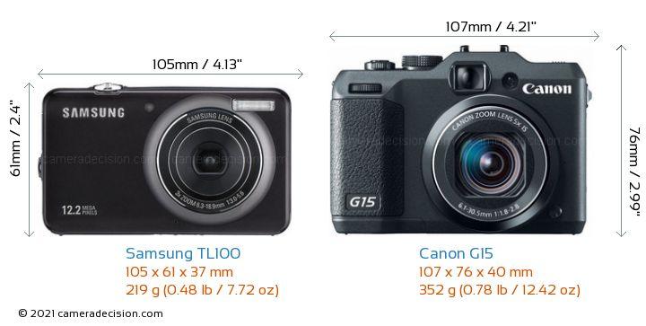 Samsung TL100 vs Canon G15 Camera Size Comparison - Front View