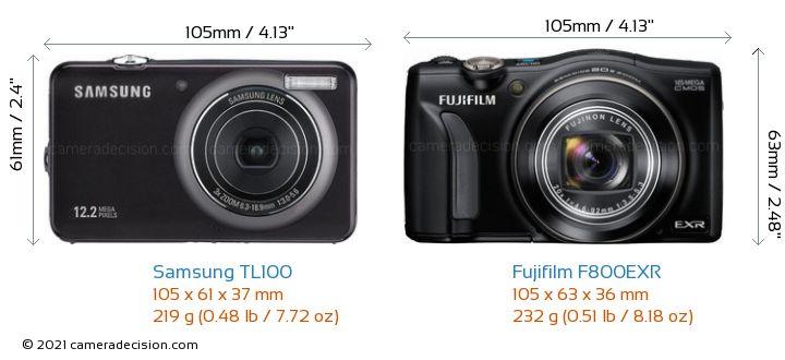 Samsung TL100 vs Fujifilm F800EXR Camera Size Comparison - Front View