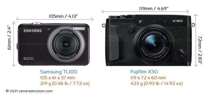 Samsung TL100 vs Fujifilm X30 Camera Size Comparison - Front View