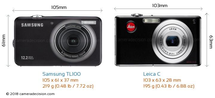 Samsung TL100 vs Leica C Camera Size Comparison - Front View