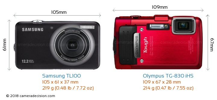 Samsung TL100 vs Olympus TG-830 iHS Camera Size Comparison - Front View